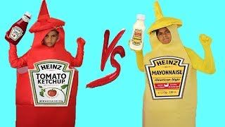 kids pretend play Ketchup VS Mayonnaise, funny videos for kids