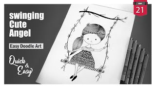 Swinging Cute Angel | Simple Doodle Art | Easy Drawing | Zentangle Art