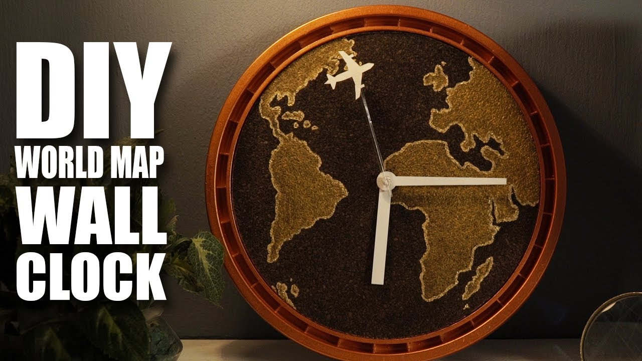 How to make a diy wall clock with world map youtube how to make a diy wall clock with world map gumiabroncs Image collections