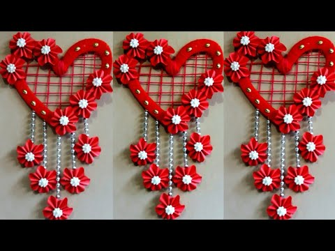 DIY New wall hanging decor design | How to make heart shape paper flower wall hanging decoration