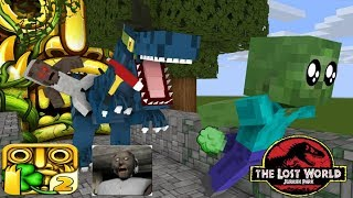 Monster School : Jurrassic World , Granny Vs Baby Mobs Temple Run Challenge - Minecraft Animation