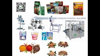 automatic soup packing production line with piston flat pouch doypack fiiling machines