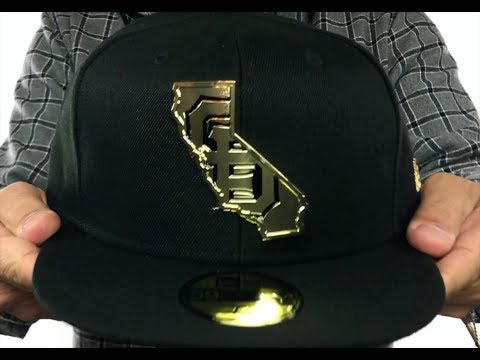96711ff1c5bbf1 SF Giants 'GOLD STATED METAL-BADGE' Black Fitted Hat by New Era ...