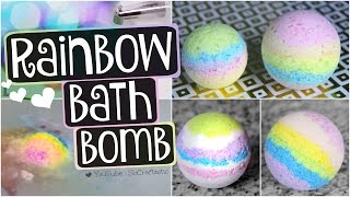 DIY RAINBOW BATH BOMB // Easy Recipe + Demo // Bath Bombs How To