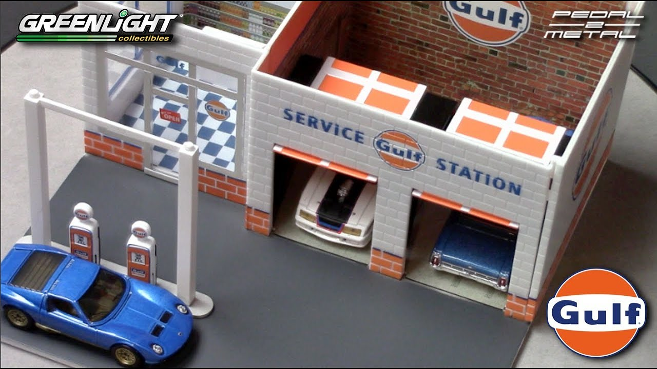 Greenlight's 1/64 Vintage GULF Gas Station | Review