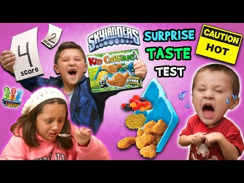 Skylanders Kid Cuisine Frozen Meal Taste Test Review w/ Skylander Boy and Girl & Lightcore Chase