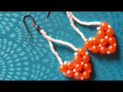 """Серьги из бусин """"Сердечко""""/Earrings made of beads """"Heart"""""""