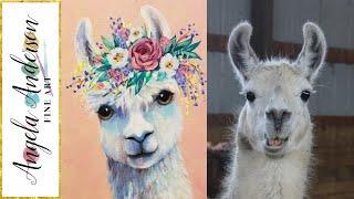 Boho Llama LIVE Acrylic Painting Tutorial