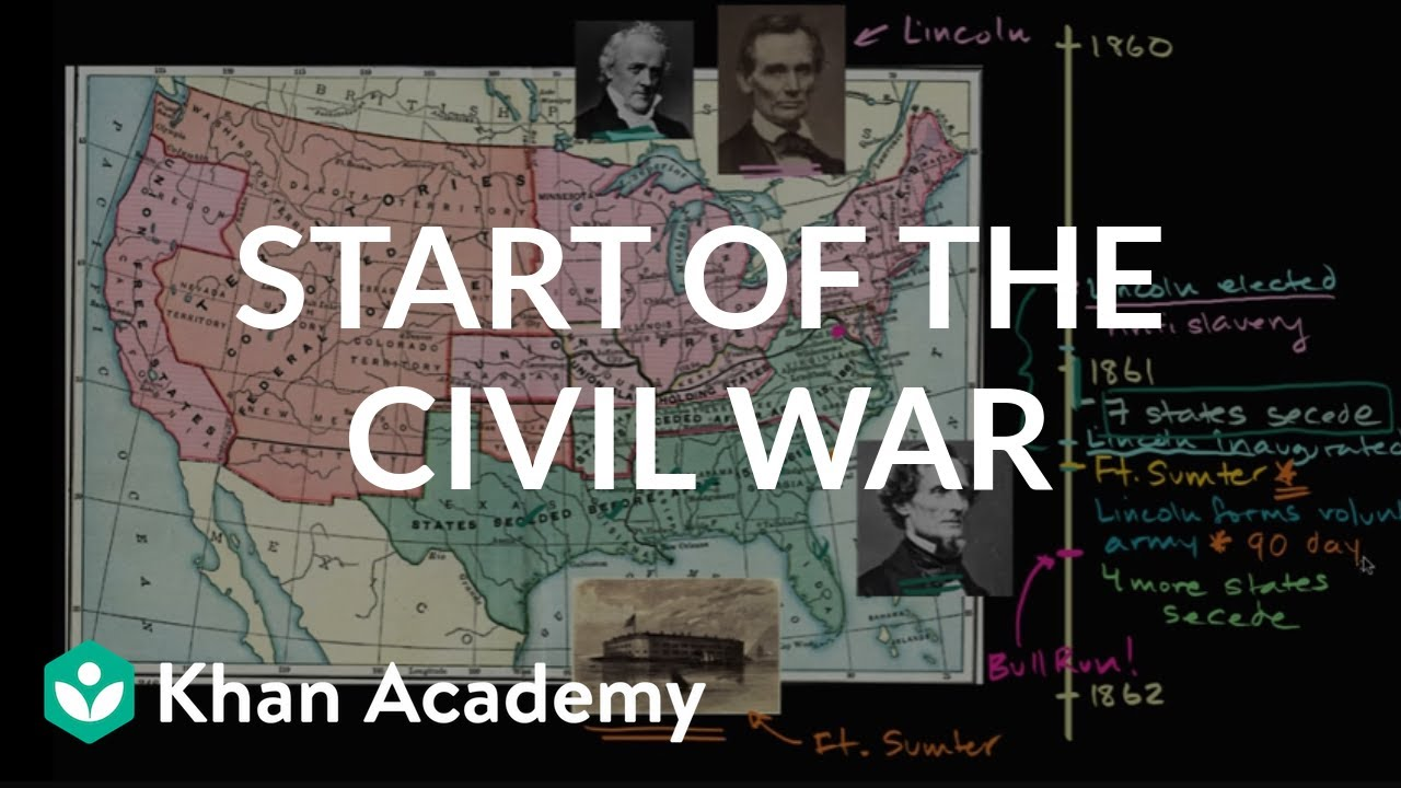 Start of the Civil War - secession and Fort Sumter (video