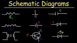 Schematic Diagrams & Symbols, Electrical Circuits - Resistors, Capacitors, Inductors, Diodes, & LEDs