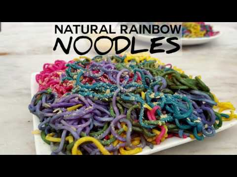 Natural Rainbow Noodles with Vegetable Dye and Vegan Parmesan