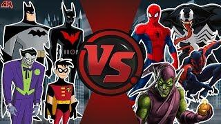 Team Batman VS Team Spider-Man (Batman Beyond vs Spider-Man 2099, Batman, Spider-Man, Joker, Goblin)