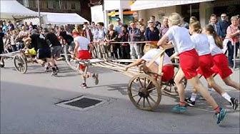 Bénichon 2019, course des charrettes à Charmey, en Gruyère, Suisse
