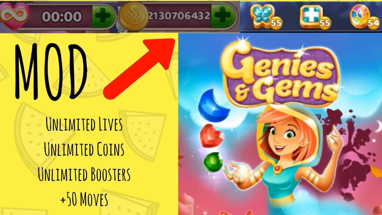 Genies & Gems MOD ★ Unlimited Lives, Coins, Boosters, +50 Moves ★ Latest  Version