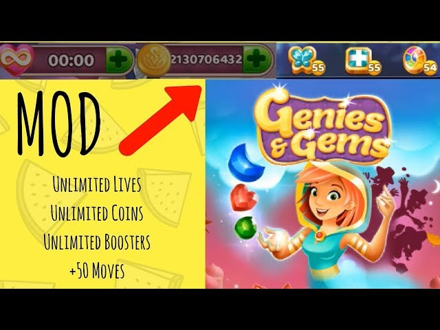 Genies & Gems MOD ☆ Unlimited Lives, Coins, Boosters, +50 Moves