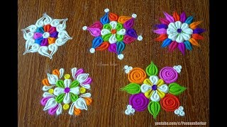 Learn basic techniques to draw flower rangoli patterns | Easy rangoli by Poonam Borkar