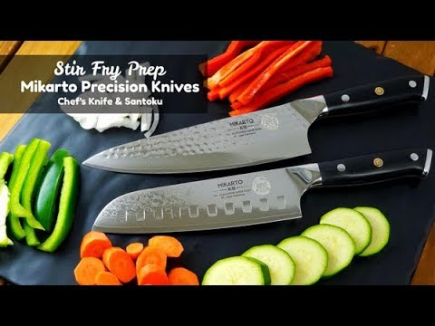 Stir Fry Prep ~ Mikarto Knife Review ~ Damascus Chef's Knife and Santoku ~ Amy Learns to Cook