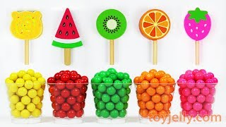 Learn Colors Microwave Gumballs Candy Kinder Surprise Eggs Kinder Joy Popsicle Ice Cream Fruit Toys