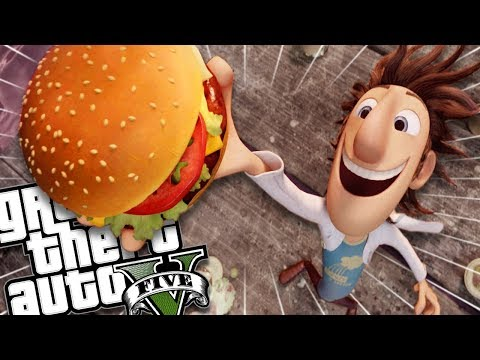CLOUDY WITH A CHANCE OF MEATBALLS MOD (GTA 5 PC Mods Gameplay)