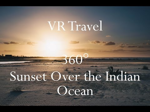 VR Travel - Sunset Over the Indian Ocean on the Coast of Mozambique