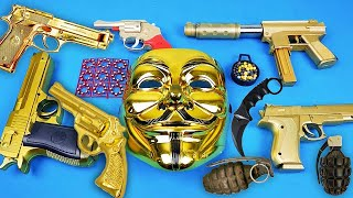V for Vendetta Mask - Toy Gold Weapons Video for Kids