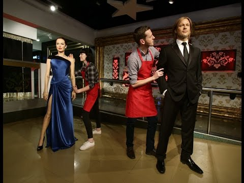 Brad Pitt and Angelina Jolie figures separated at Madame Tussauds London