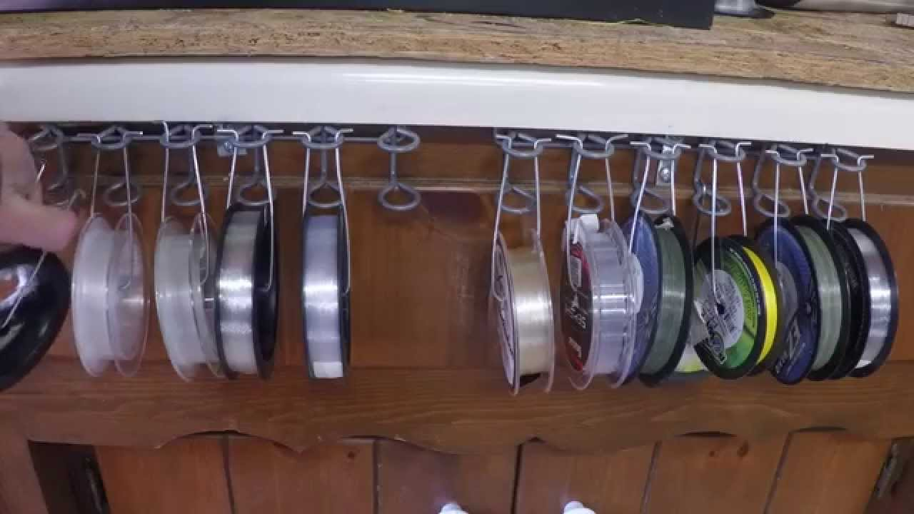 Diy fishing line storage youtube for Fishing line holder