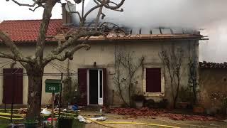 vidéo incendie maison Notre-Dame-de-Sanilhac en Dordogne