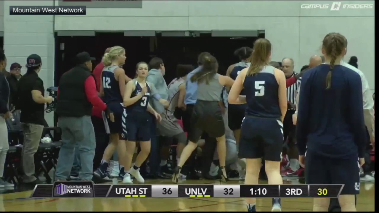 Brawl erupts between UNLV, Utah State women's basketball ...