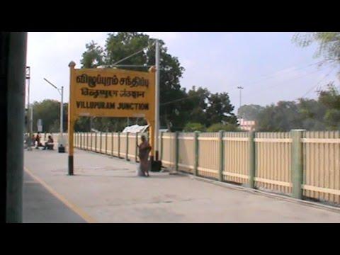 Arriving at 5-Point crossing Villupuram Junction & meeting line from  Katpadi: WAP-4 Egmore Guruvayur