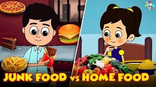 Junk Food vs Home Food | Chocolates vs Vegetables | Animated Stories | English Cartoon | Moral Story