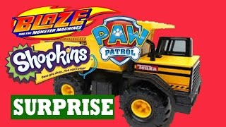 Worlds Biggest DUMP TRUCK Surprise Shopkins Paw Patrol Blaze Monster Truck Machines Disney Princess