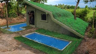 Build Beautiful Swimming Pool & Build Roof Grass House In Wild Full Building