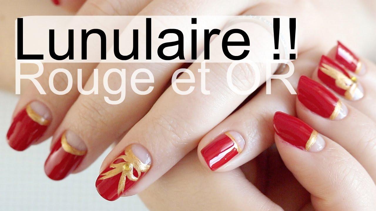 NAIL ART , Manucure Rouge et Or pour Noël