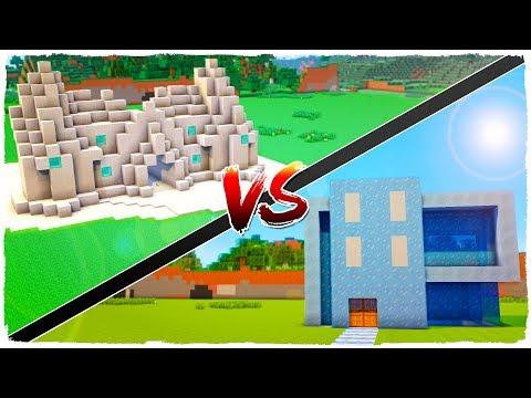 👉 Casa de NIEVE vs casa de HIELO - MINECRAFT