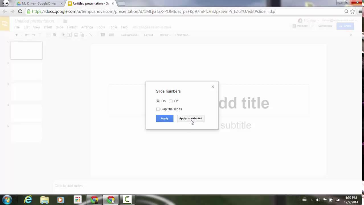 slide numbers in google slides youtube