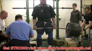 Andy Bolton 520kg,1144lbs Partial Deadlift Training From Just Above Knee