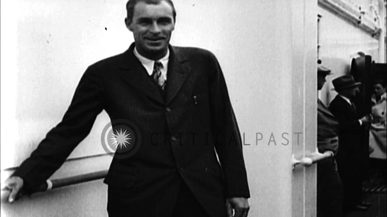Bill Tilden goes aboard ship after playing in Forest Hill Tennis