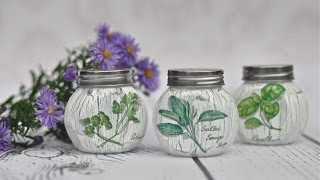 DECOUPAGE  tutorial jars for spices -------   DIY By Catherine  :)