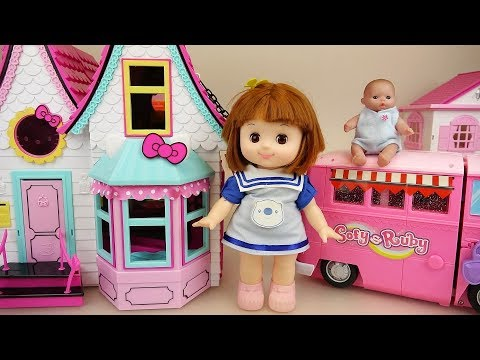 Baby doll Camping car and hello kitty house play
