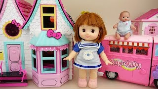 Baby doll Camping bus car and hello kitty house play