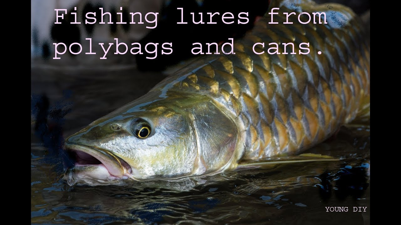 How to catch fish using fishing lures made of cans and poly bags.diy survival kit.