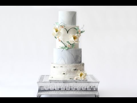 How to Create a Marble Cake Tier! (With some blingy accents)