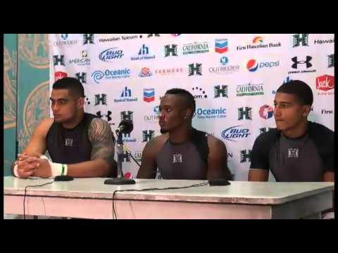 Paipai Falemalu, Mike Edwards, Trevor Davis Post Game Press Conference Hawaii vs. Lamar 9-15-12