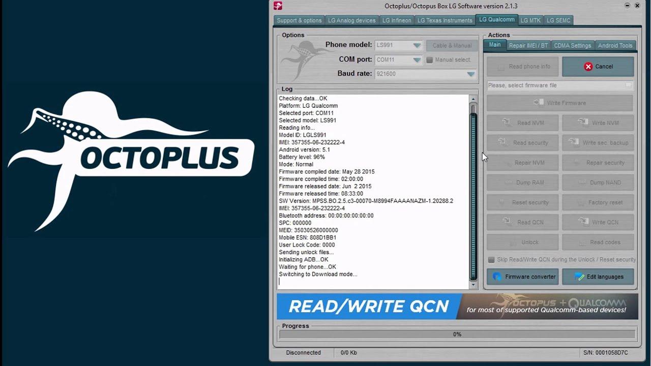 LG LS991 - Unlock - Octoplus Box: unlock and repair tool