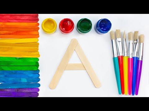 Буквы алфавита из деревянных палочек. Раскрашиваем красками.
