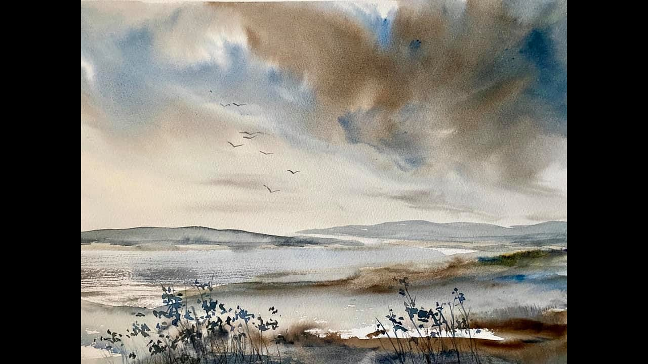 Paint a Simple Loose Summer Storm with my new large hake brush, watercolour landscape, watercolor