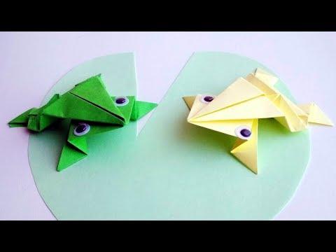 Как сделать прыгающую лягушку из бумаги. Оригами без клея и ножниц. Поделки.