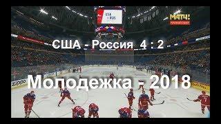 Голы Четвертьфинал США-Россия 4:2 Молодежный Чемпионат Мира 2018 в Баффоло 3 января 2018 г.
