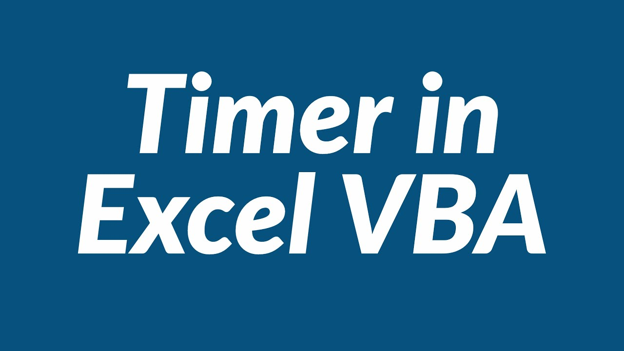 Timer In Excel Youtube
